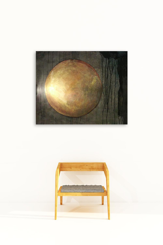 Artwork by Vinya Cameron | Golden Sun 2016 | Acrylics and chalk on wood panel